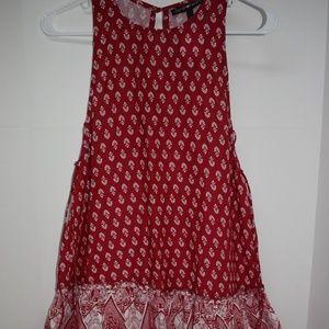 Derek Heart Red White Boho Tassel Dress Small New